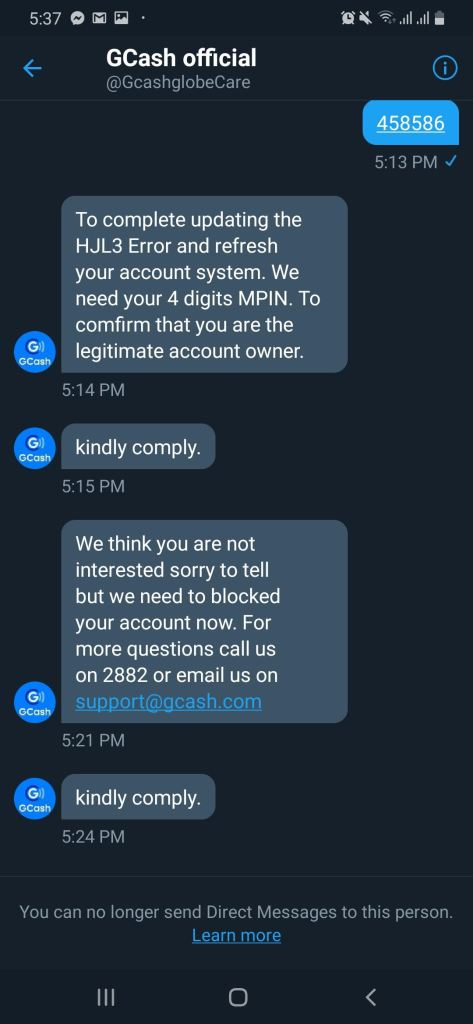 Fake Gcash customer support account