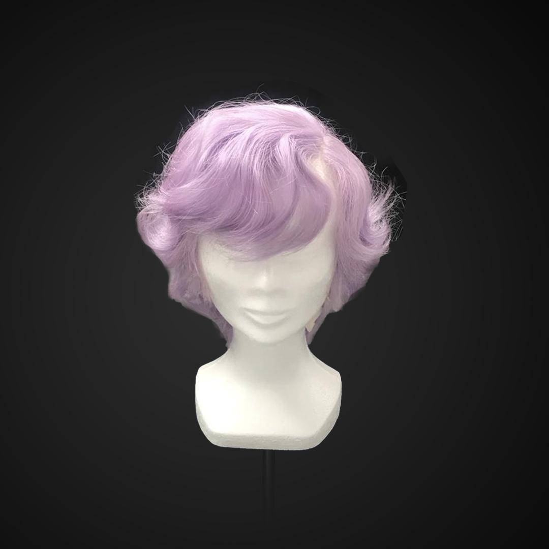 Parrucca viola ondulata