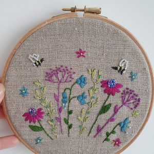 wildflowers and bees embroidery