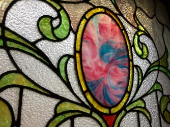 Close up of the stained glass