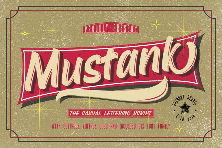 Mustank Casual Script + Free Vector