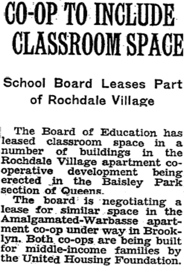 Rochdale Village Timeline: (1950's