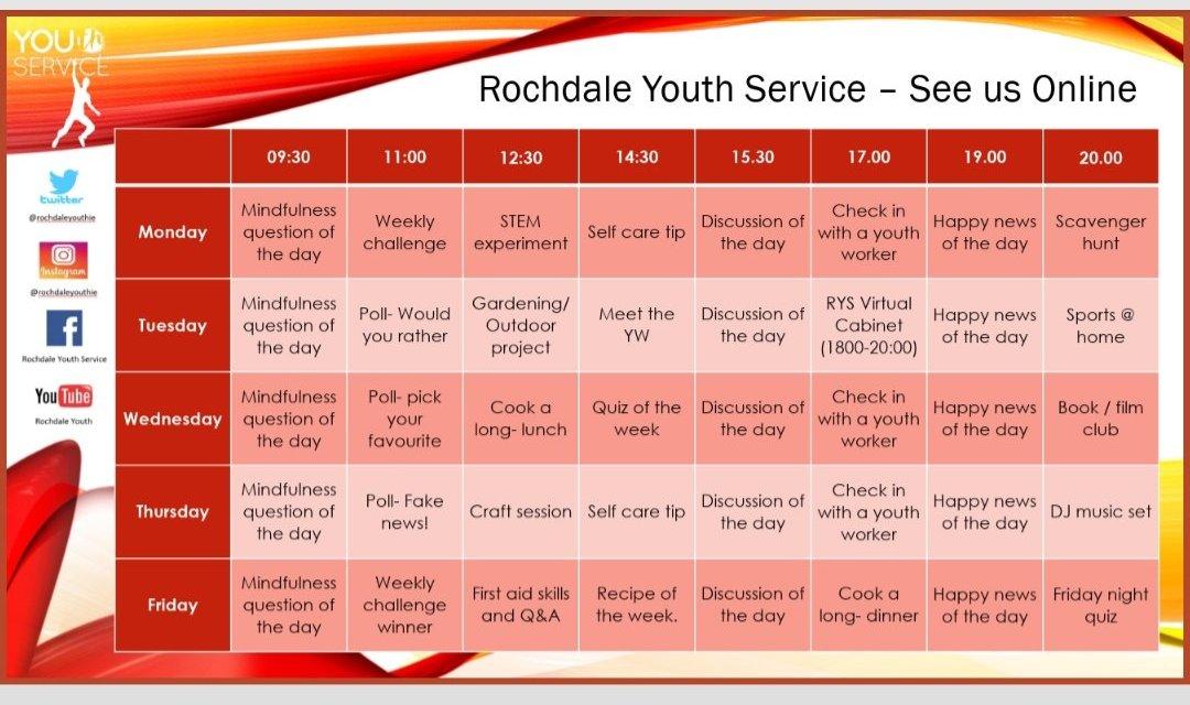 Rochdale Youth Service Virtual Programme!