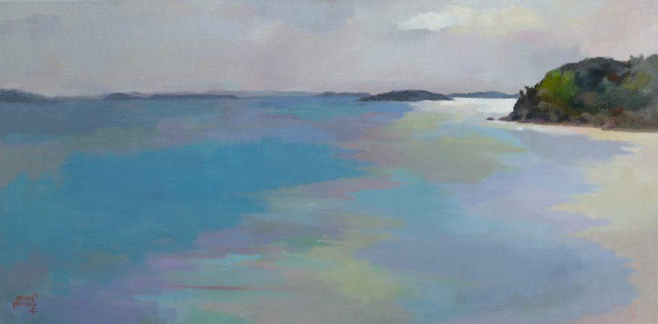 La Garde, matin brillant, huile sur toile, 40x80 cm