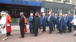 Medway councillors lining up for the procession to the Cathedral