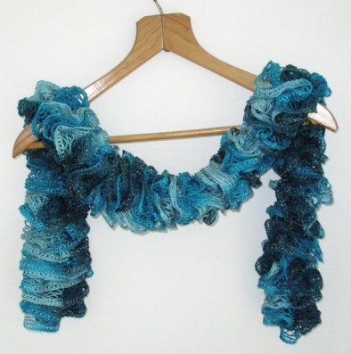 Ruffled Scarf in Shades of Turquoise