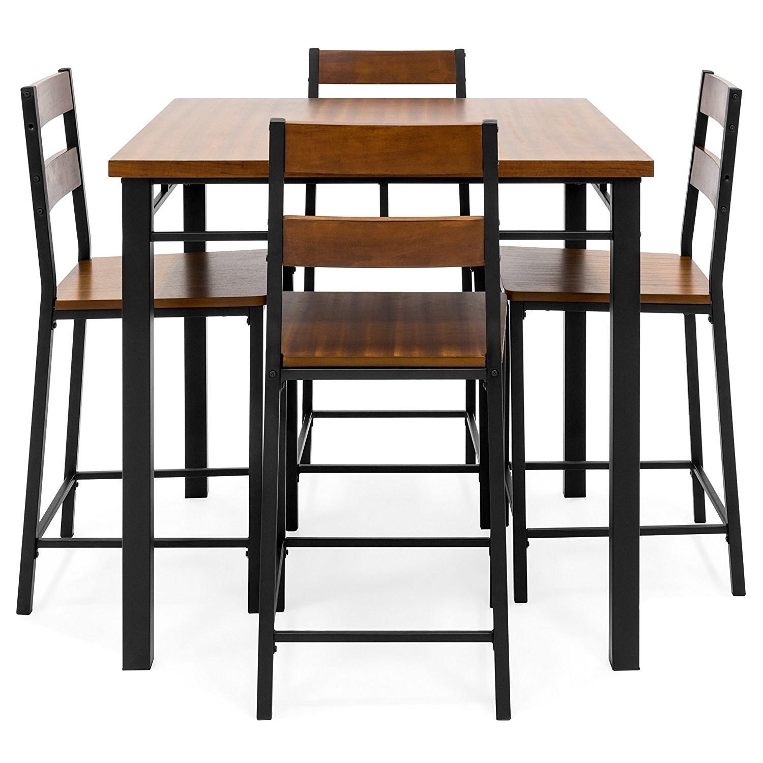 overstock com dining room chairs red leather office chair 5 piece counter height set  vintage oak