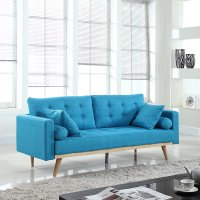 Modern Tufted Linen Fabric Sofa (Light Blue)  Rochester