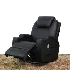 Black Leather Swivel Lounge Chair All Weather Garden Massage Recliner Heated Pu Ergonomic