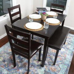 Espresso Table And Chairs Swivel Patio With Cushions 5 Piece Kitchen Dining Set  1 3 Leather