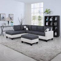 Black & White, 2 Tone Leather Living Room Sectional Sofa ...