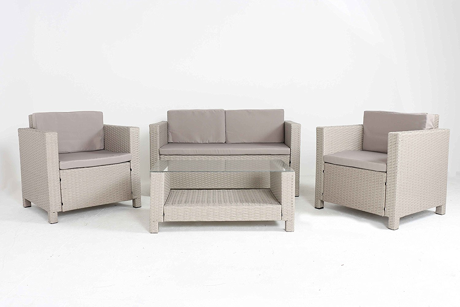 quality sofas for less sofa disposal large 4 pc modern beige rattan wiker set outdoor