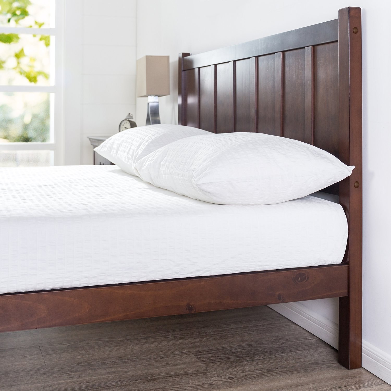 Wood Rustic Style Platform Bed With Headboard No Box