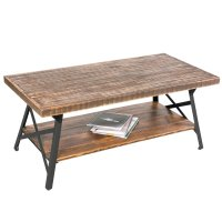 Rustic Wood Coffee Table with Metal Legs, End Table/Living ...