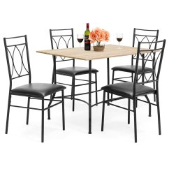 Black Metal And Wood Dining Chairs Pictures Of Coral 5 Piece Set W Table Faux
