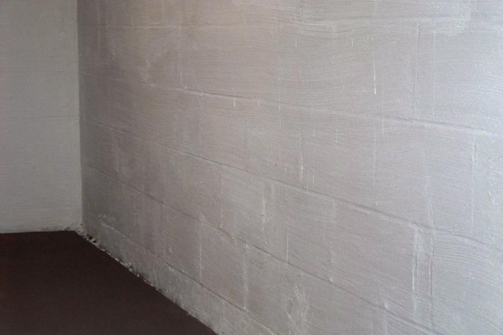 Basement wall after waterproofing