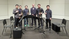 The Tongyeong Concert Hall Brass Quintet and Roché van Tiddens before the performance of Praying Mantis III at the ISCM World Music Days, 2016