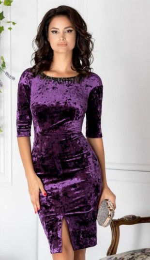 rochie de  catifea mov