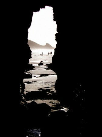 Cave on Newgale beach near St Davids and Solva, Pembrokeshire Coast National Park, South West Wales