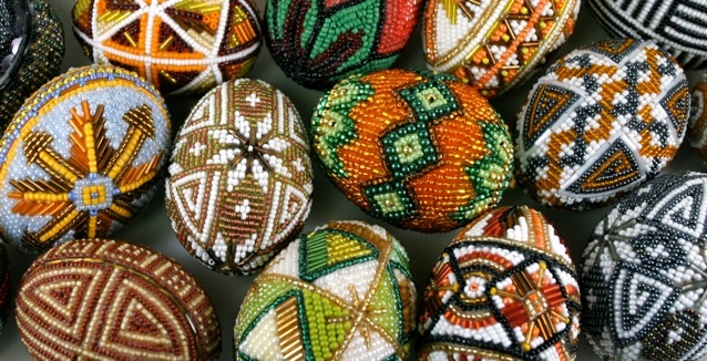 Huevos Pysanky, huevos de Pascua de Ucrania Nakleyanky