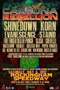 Carolina Rebellion 2012 lineup has been announced.