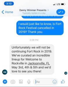 Fort Rock music festival may not make a return in 2019.