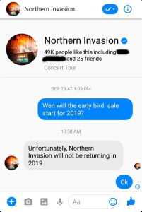 Somerset rock and music festival Northern Invasion will not return in 2019.