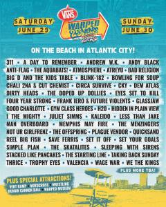 Vans Warped Tour lineup announcement for the 25th anniversary celebration in Atlantic City, NJ.