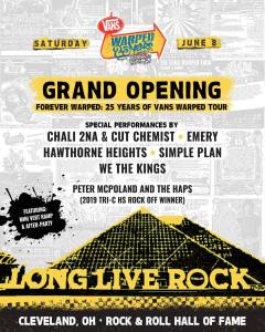 Lineup announcement for Vans Warped Tour 25th anniversary celebration in Cleveland, OH.