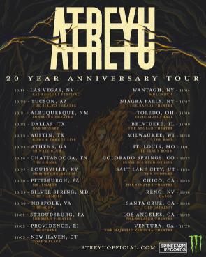 Atreyu to celebrate '20 Year Anniversary Tour' in fall 2019.
