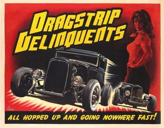 dragstrip delinquents 16x20 print