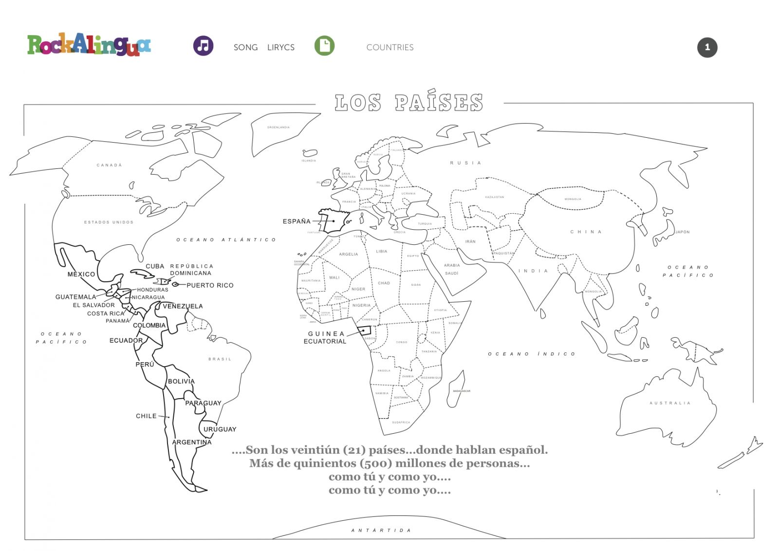 hight resolution of Spanish Speaking Countries Worksheet - Promotiontablecovers