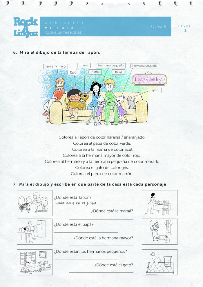 Spanish Bedroom Vocabulary Worksheets – La Familia Worksheets