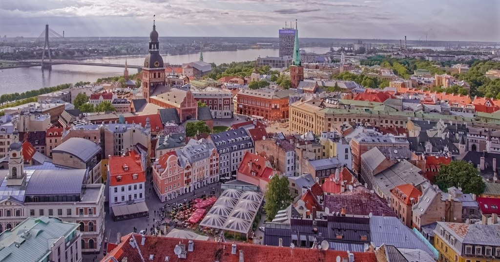 View from the top of St. Peter's Church in Riga, Latvia
