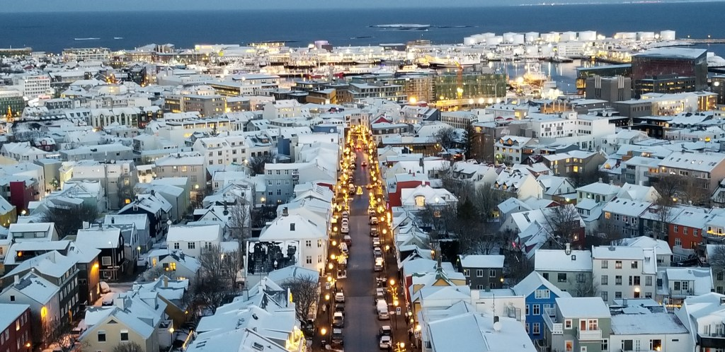 Reykjavic covered in fresh snow