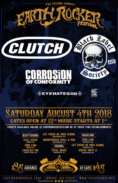 CLUTCH ANNOUNCE SECOND ANNUAL EARTH ROCKER FESTIVAL AT SHILEY ACRES IN INWOOD, WV AUGUST 4th, 2018