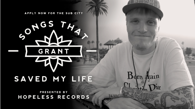 Sub City & Hopeless Records Announce 'Songs That Saved My Life' Grant Worth $10,000