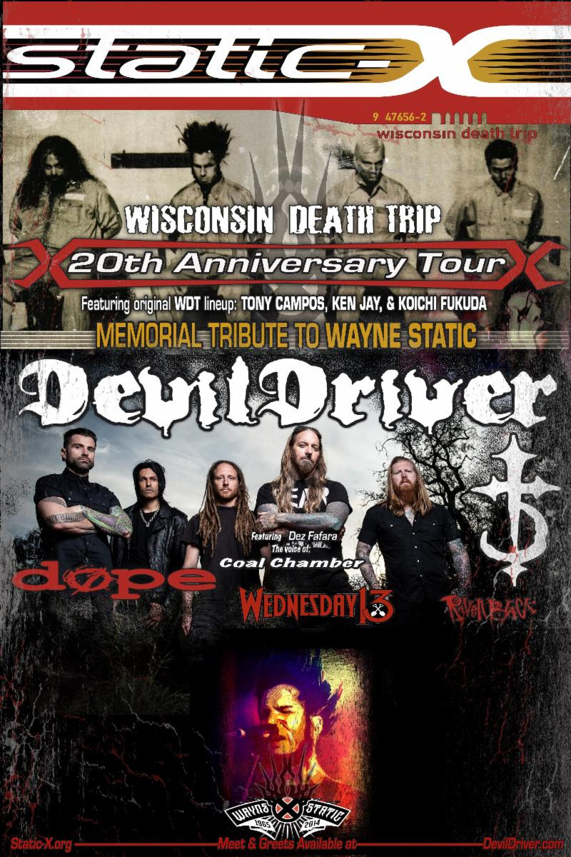 STATIC-X & DEVILDRIVER Announce WEDNESDAY 13 and RAVEN BLACK as Additional North American Tour Support