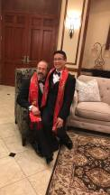 It is customary for the Chinese bride to wear red silk, so we wore red silk scarves.