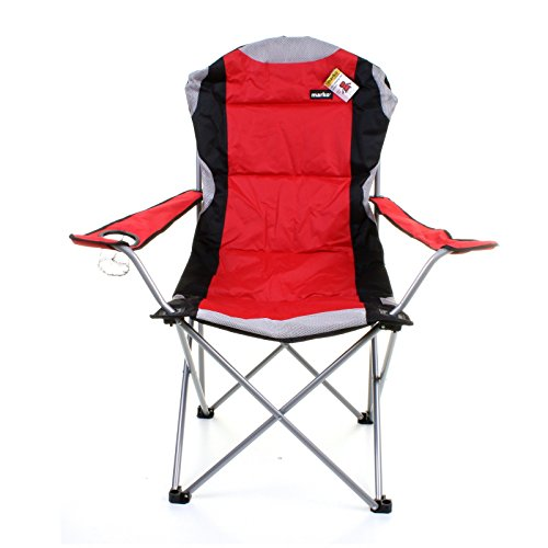 heavy duty folding chairs outdoor oversized chair and ottoman sets marko red & grey deluxe padded steel camping festival directors ...