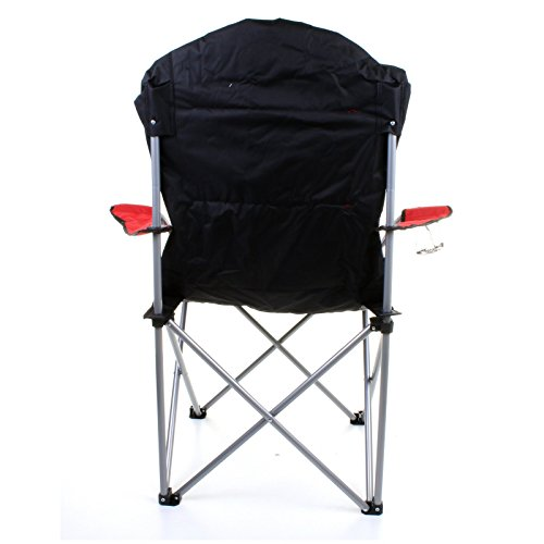 padded camping chair toddler table and chairs argos marko outdoor red & grey heavy duty deluxe folding steel festival directors ...