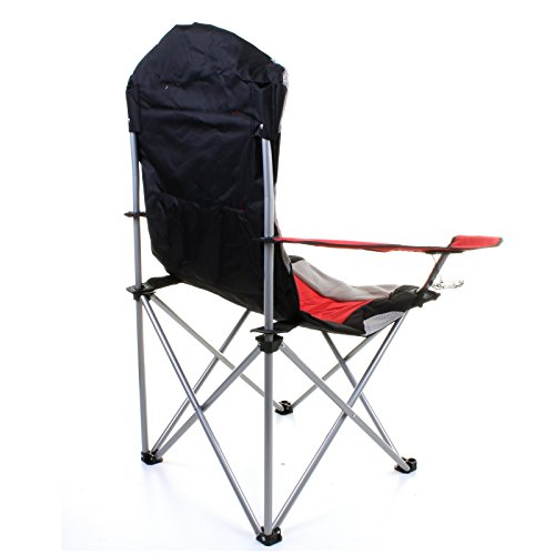 fishing chair uk wooden office no wheels marko outdoor red & grey heavy duty deluxe padded folding steel camping festival directors ...