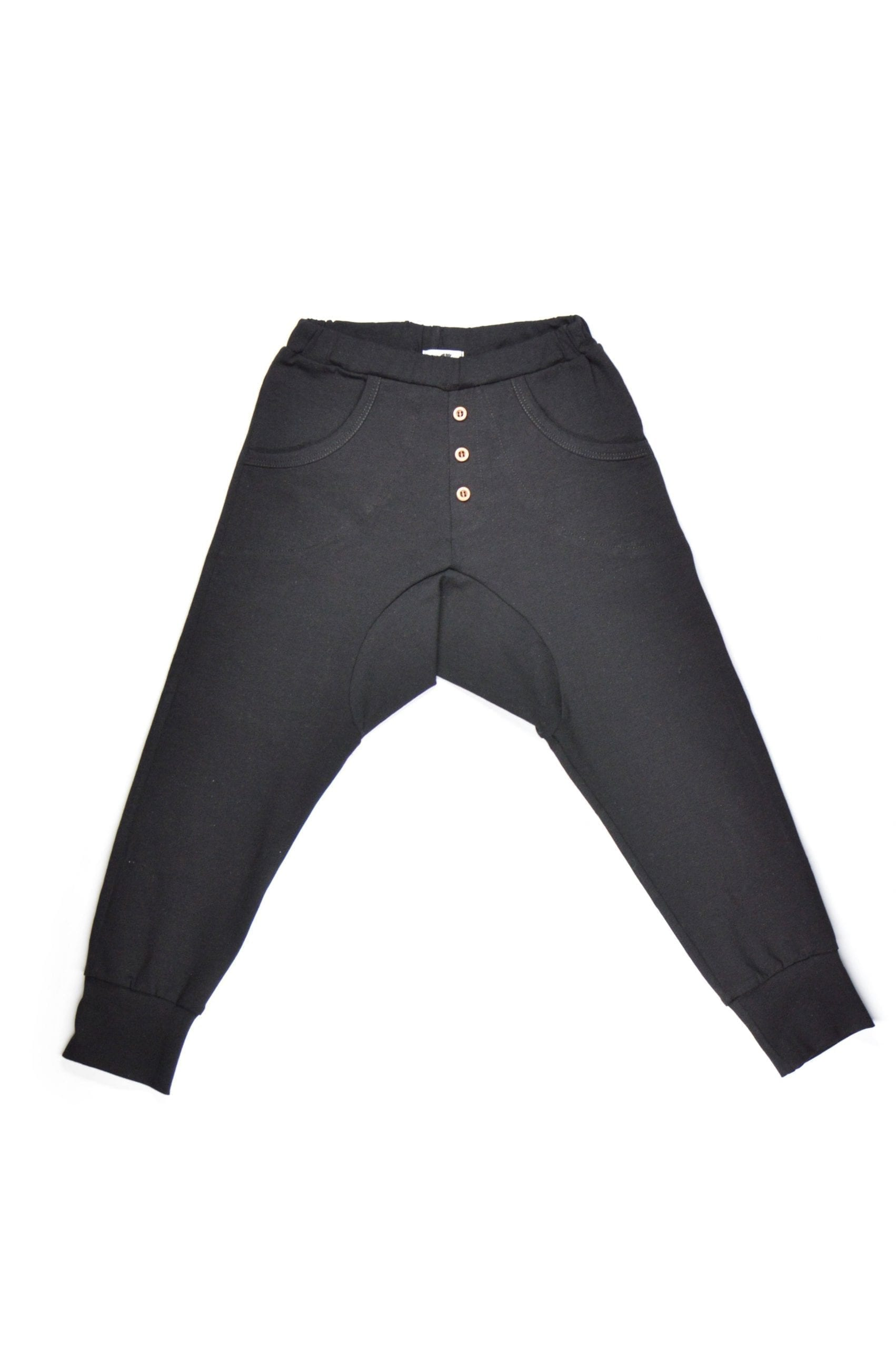 Black unisex jersey pants with buttons for kid, toddler, boy, girl, baby