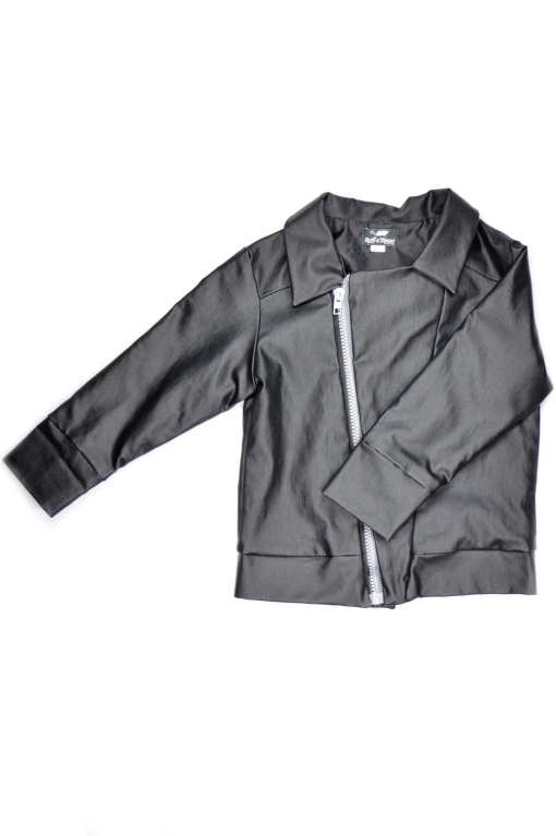 Unisex leather look kids biker jacket for girl, boy, baby