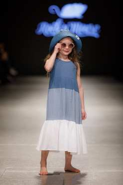 Maxi summer muslin dress with blue and white and denim floppy hat for girl, kid, toddler