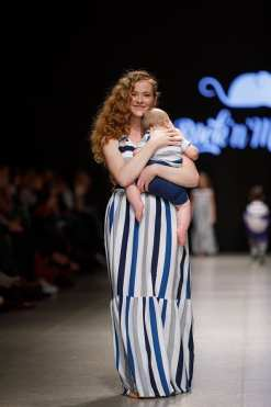 Summer outfit for mama and baby boy with blue stripes