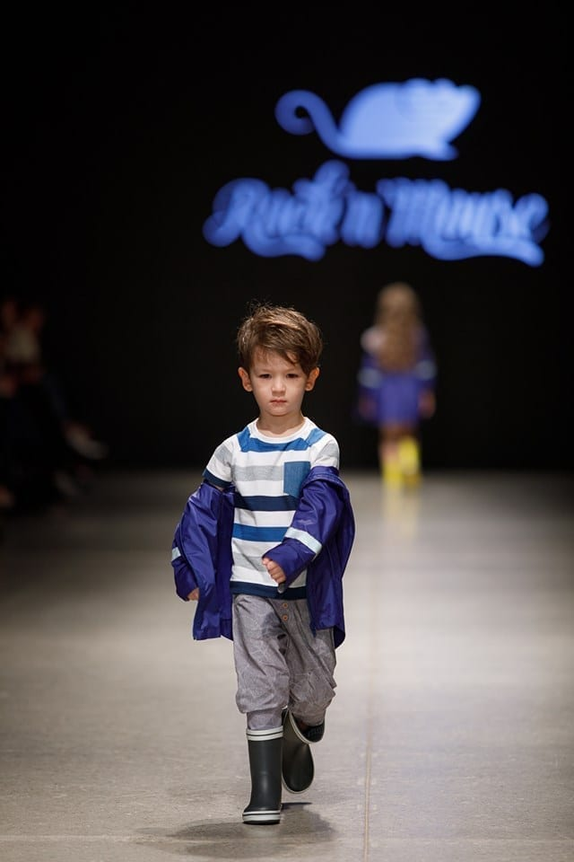 Toddler boy kids outfit with blue rain coat parka, striped T-shirt and grey leaf harem pants