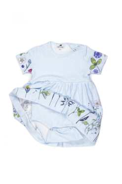 Sky flower bodysuit-dress for baby girl and toddler
