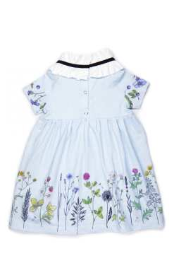 Rock And Mouse light blue, sky flower collar summer dress for kid girls, toddlers