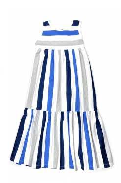 Blue stripe maxi summer dress for kid, girl, toddler